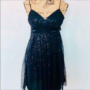 B Darlin Black Sequin Tulle Spaghetti Strap Dress